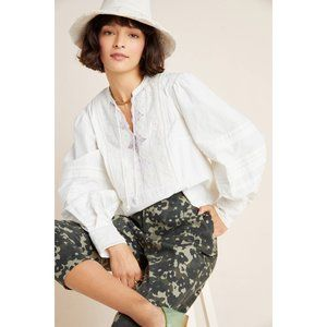 Anthropologie Delilah Pleated Lace Peasant Blouse